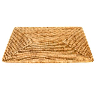 Boho Chic Artifacts Rattan Rectangular Placemat For Sale