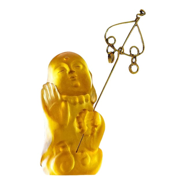 """Crystal Buddha, """"Joyous and Worry-Free, I Am Not Afraid"""" in Amber For Sale"""