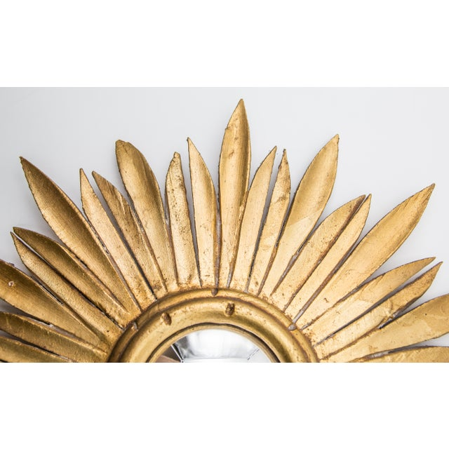 Boho Chic Mid Century French Giltwood Sunburst Convex Mirror For Sale - Image 3 of 7