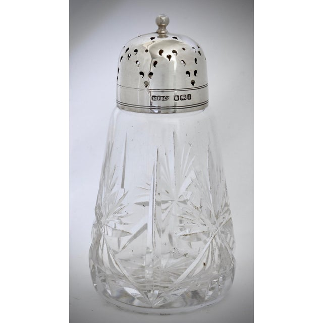 English D. 1911 English Sterling Silver & Cut Crystal Shaker For Sale - Image 3 of 3