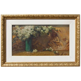 19th Century Floral Oil Painting Dogwood Flowers With Architectural Frieze For Sale