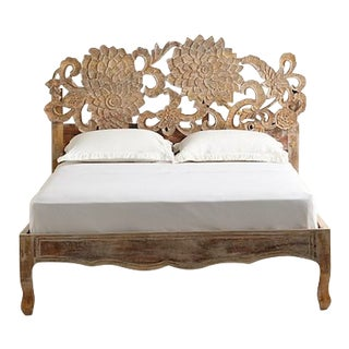Anthropologie Handcarved Lotus Bed For Sale