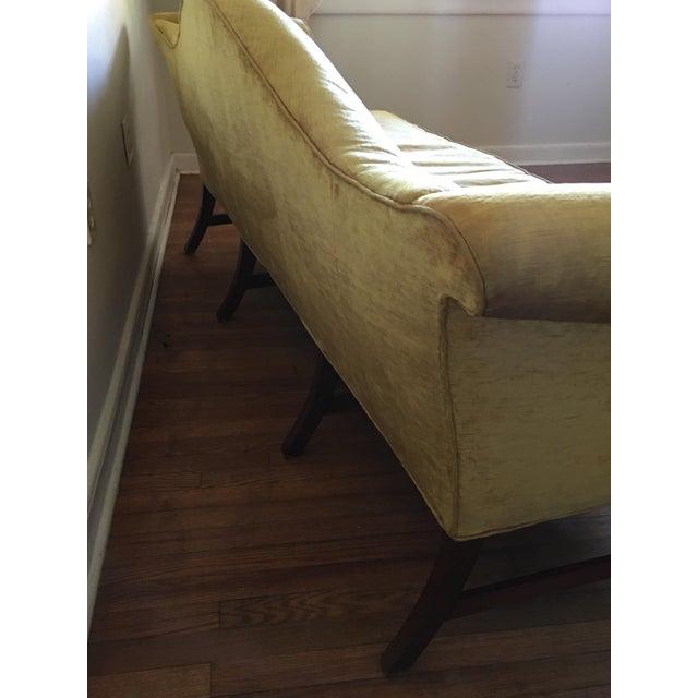 Wood Mid Century Modern Crushed Velvet Camelback Sofa For Sale - Image 7 of 11