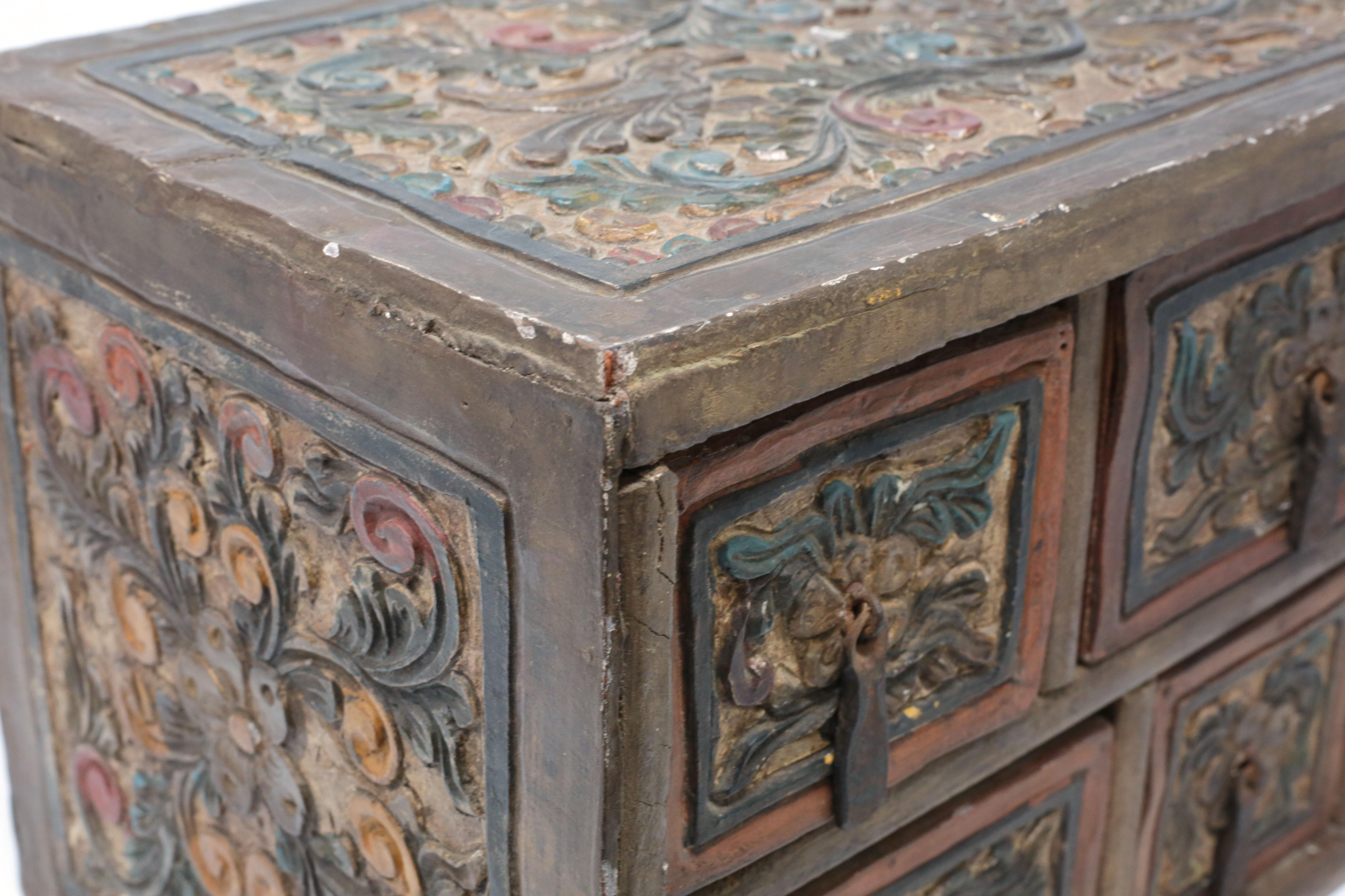 Primitive Antique Carved And Hand Painted Wood Box With Drawers Rh Chairish Com Oriental Coffee Tables