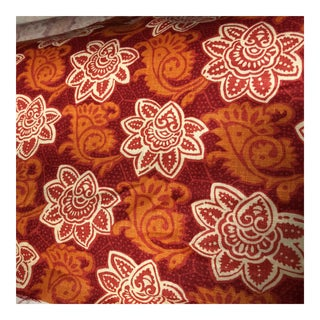 Tyler Hall Orange Patterned Fabric For Sale