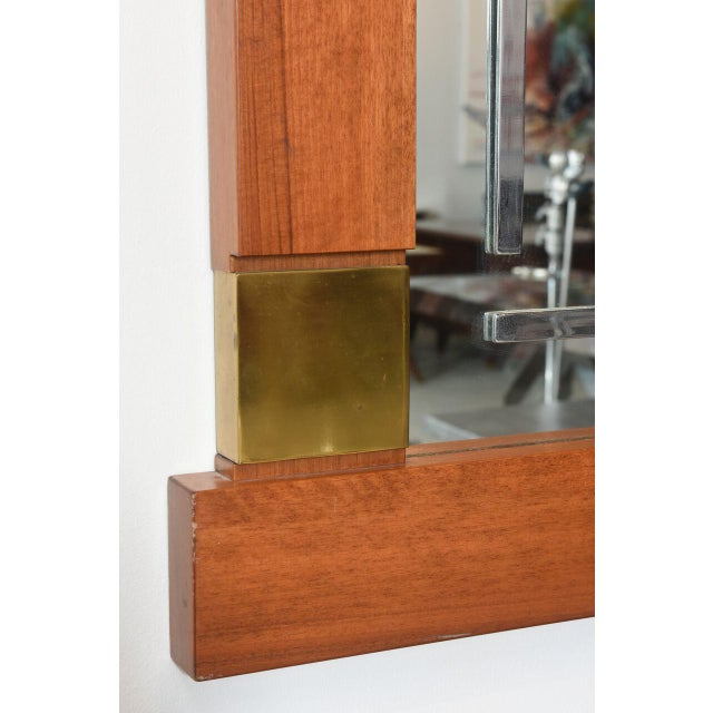 1950s Large Italian Modern Walnut and Brass Mirror, Attributed to Giovanni Michelucci For Sale - Image 5 of 8