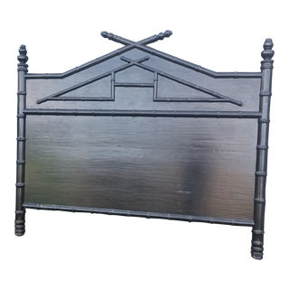 King Size Black Faux Bamboo Headboard For Sale