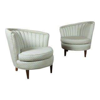 Pair 1940s Art Deco Channeled Back Club Chairs For Sale