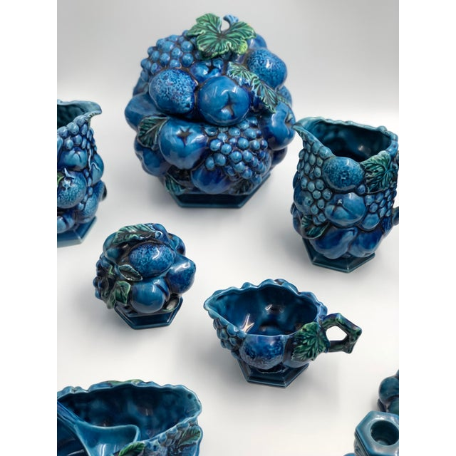 Vintage Ceramic Fruit Topiary Serving Set, Mood Indigo by Inacaro For Sale - Image 9 of 12