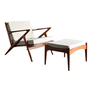 "Vintage Mid Century Poul Jensen for Selig of Denmark ""Z"" Lounge Chair and Ottoman For Sale"