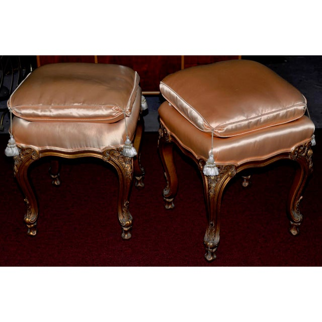 Pair of Italian Hand Carved and Silk Upholstered Benches C.1950s For Sale - Image 4 of 5