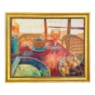 """Moroccan Breakfast"" Contemporary Interior Scene Still Life Oil Painting, Framed For Sale"