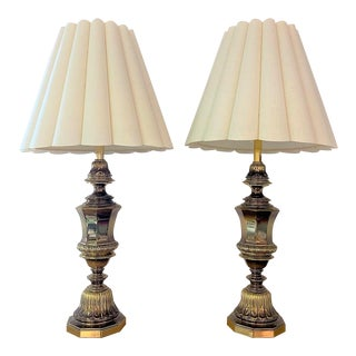 Hollywood Regency Aged Brass Tone Glass Stiffel Lamps - a Pair For Sale