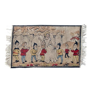 Antique Pre Disney Snow White Brothers Grimm Belgian Rug For Sale