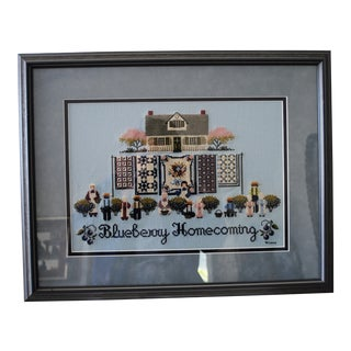 Amish Style Blueberry Homecoming Cross Stitch Textile Art For Sale