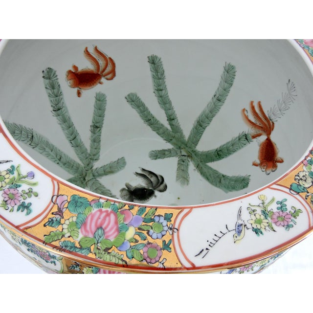 20th Century Chinese Rose Canton Gilt & Lucky Coin Porcelain Planter, Swatow For Sale - Image 9 of 10
