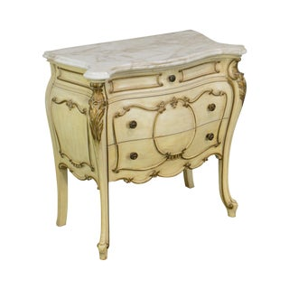 Milano Furn. Co. Rococo Style Painted Bombe Marble Top Commode Chest For Sale