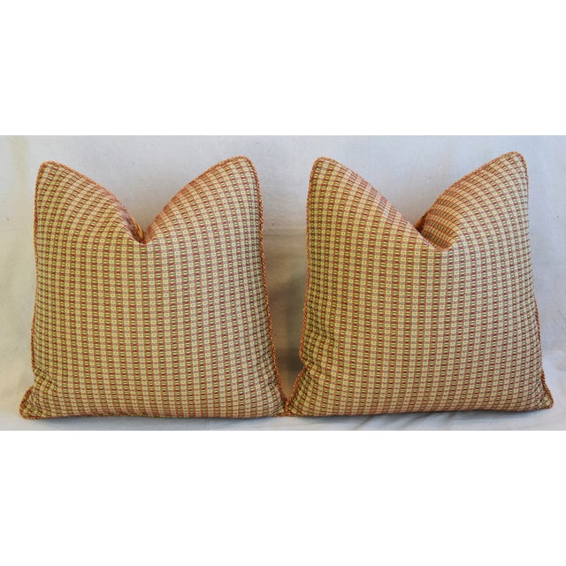 """French Pierre Frey La Riviere Feather/Down Pillows 21"""" Square - Pair For Sale - Image 9 of 12"""