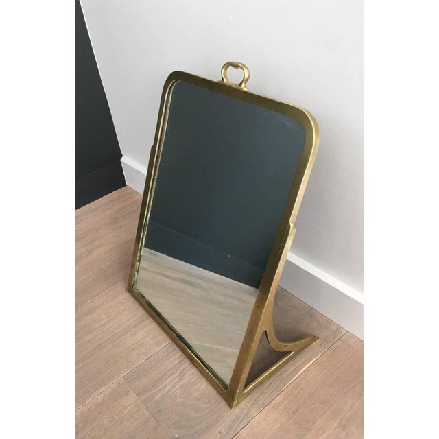 Gold Brass Dressing Mirror Made for Shoes For Sale - Image 8 of 11