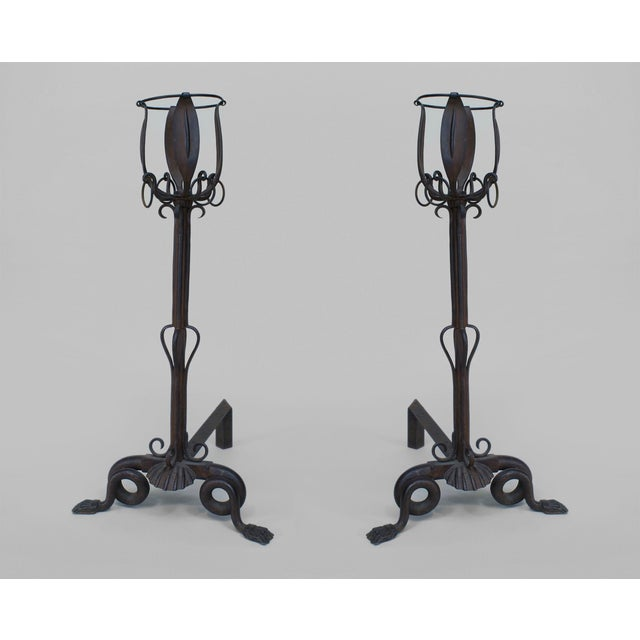 French Art Nouveau Iron Andirons- A Pair For Sale - Image 4 of 4