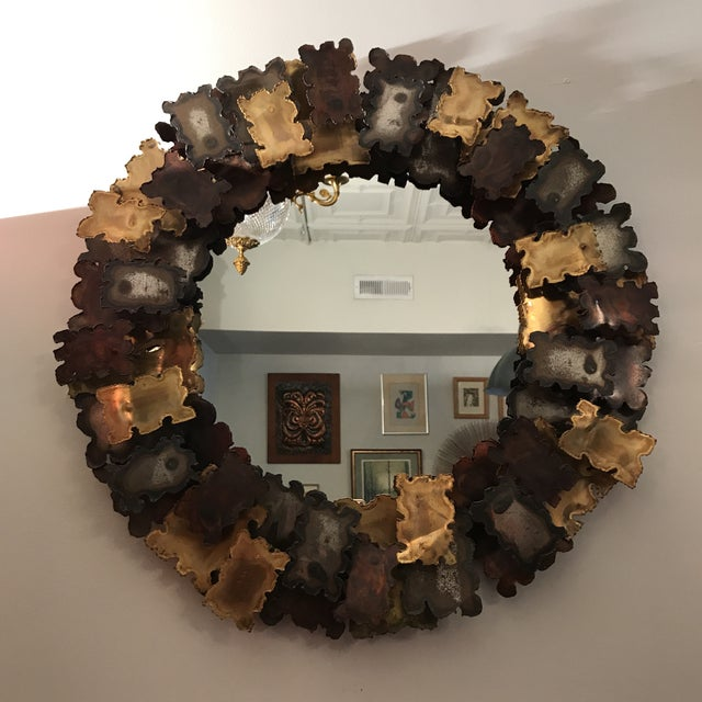 Gold 1960s Brutalist Seandel Style Mixed Metal Torch Cut Mirror For Sale - Image 8 of 8