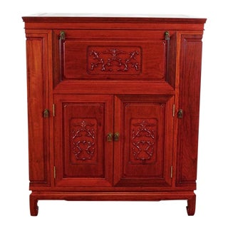 Vintage Asian Carved and Painted Rosewood Cabinet Bar For Sale