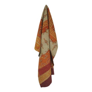 Vintage Orange and Red Hand Quilted Indian Throw For Sale
