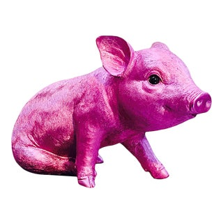 """Interior Illusions Plus Pink Chrome Piggy Standing - 9.5"""" long For Sale"""
