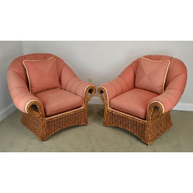 High Quality Woven Wicker Custom Upholstered Pair of Large Lounge Chairs Labeled Pierce Martin