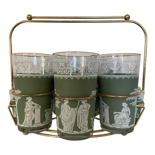 Mid-Century Neoclassical Bar Set - Set of 14 For Sale