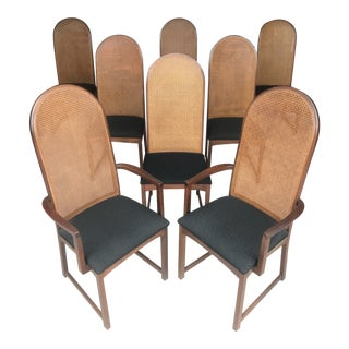 Milo Baughman Walnut Caned Back Dining Chairs Directional For Sale