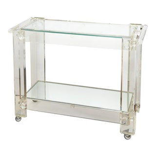 Vintage Lucite Mirrored and Glass Two-Tier Bar Cart or Trolley For Sale