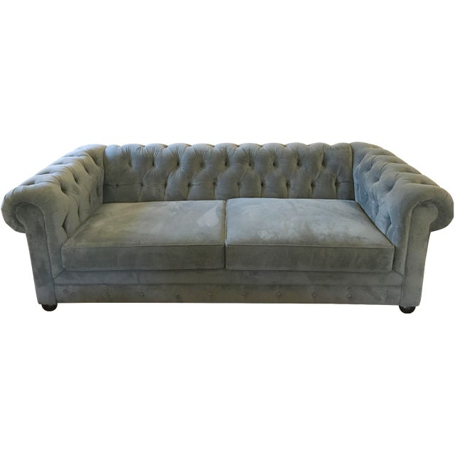 Blue Chesterfield Sofas - A Pair - Image 1 of 8