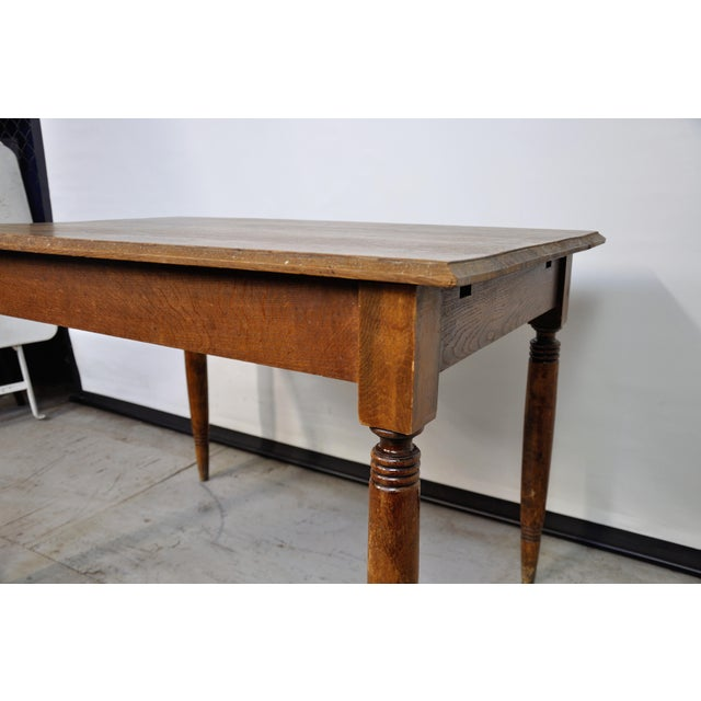 Brown Vintage French Oak Farmhouse Dining Table For Sale - Image 8 of 9
