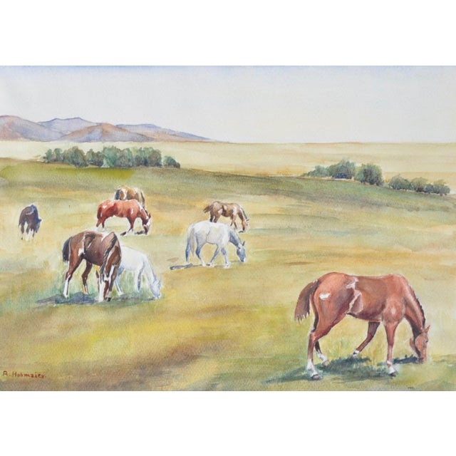 California Landscape with Horses Watercolor - Image 3 of 5