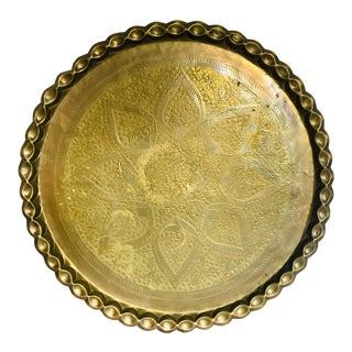 Large Vintage Brass Table Top Tray For Sale