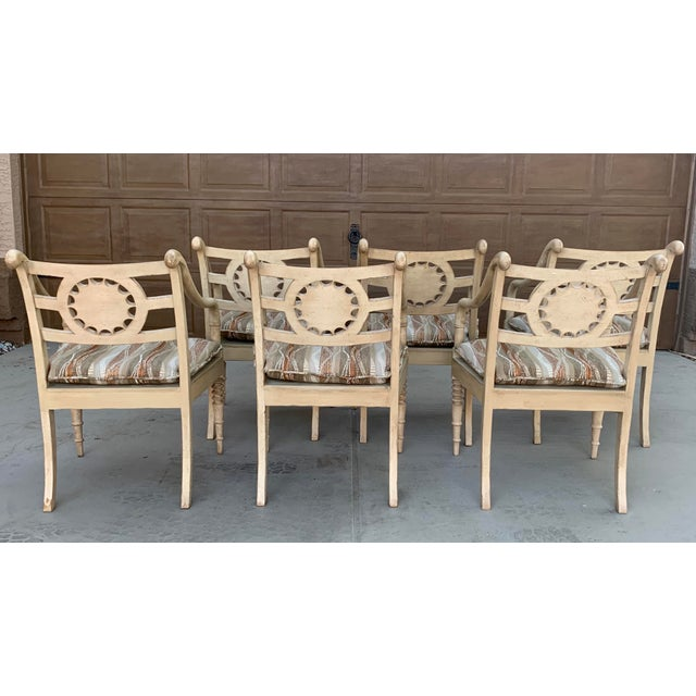 Wood Vintage Baker Furniture Milling Road French Country Dining Table and Six Chairs - Set of 7 For Sale - Image 7 of 11