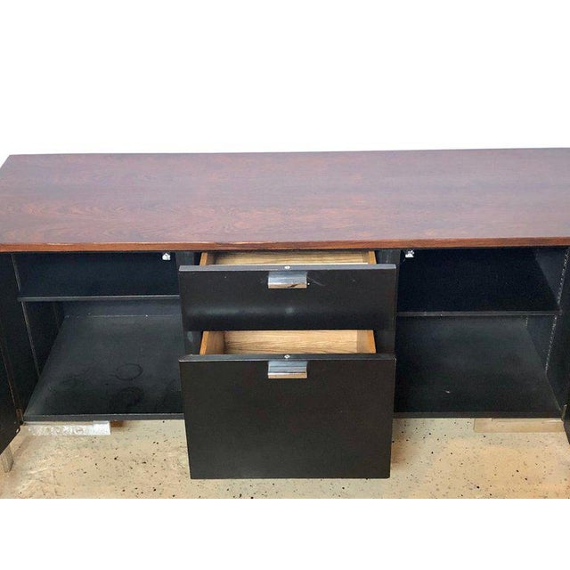 Milo Baughman Midcentury Chrome Rosewood and Ebony File Cabinet or Server by Milo Baughman For Sale - Image 4 of 11
