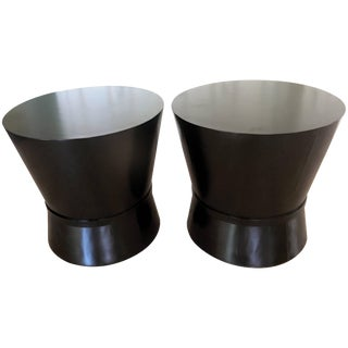 Pair of Wood Drum Tables For Sale
