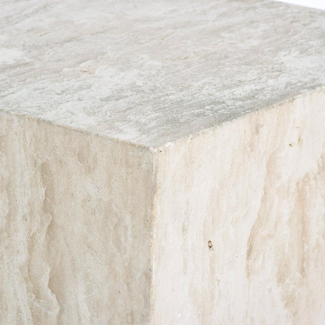 Stone Mid-Century Modern Travertine Cube Side Table For Sale - Image 7 of 9