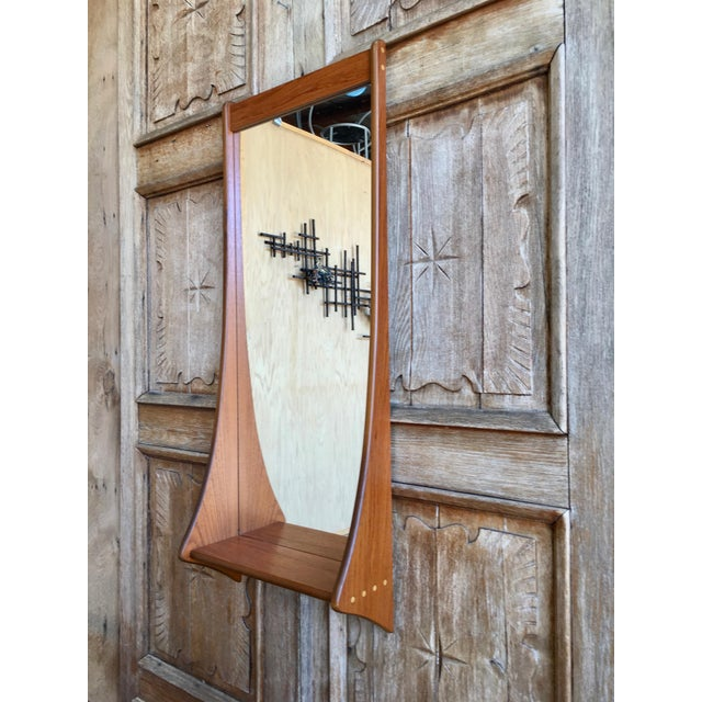 Glass 1960s Vintage Walnut Entry Mirror For Sale - Image 7 of 11