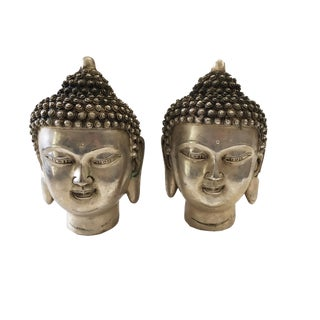 Bronze Plated Silver Buddha Heads - a Pair For Sale