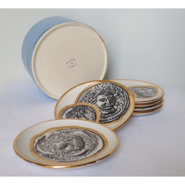 Italian Porcelain Gilt Roman Coin Drinks Coasters - Set 6 For Sale - Image 9 of 11