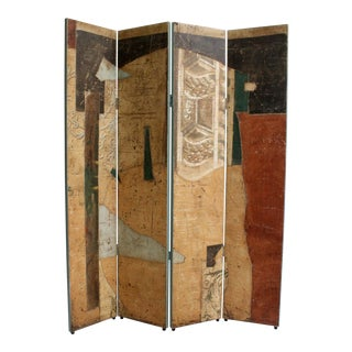 Jacques Lamy Postmodern Abstract Folding Screen Painting