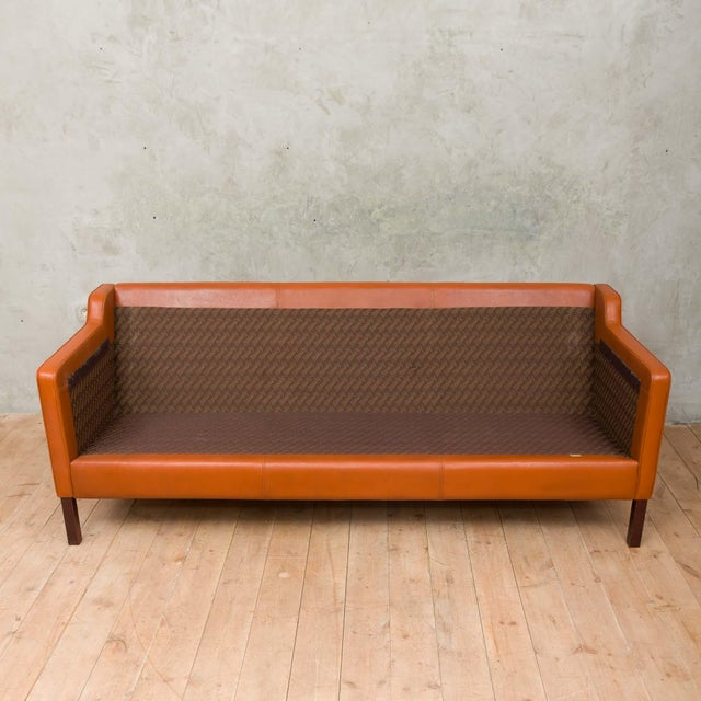1970s Vintage Stouby Cognac Leather 3 Seat Sofa For Sale - Image 10 of 12