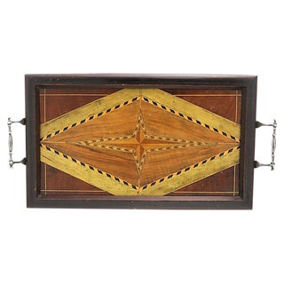 Antique Arts & Crafts English Inlaid Wood Tray - C.1900s