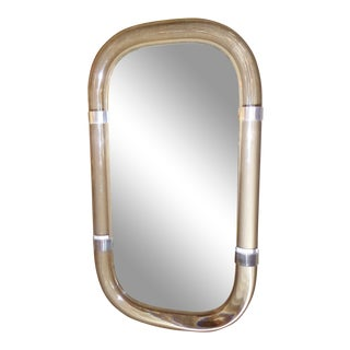 Thick Tubular Lucite & Aluminum Rings Floating Modern Wall Mirror