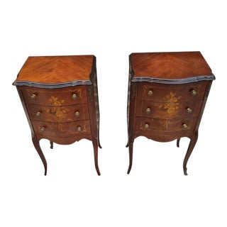 Antique French Marquetry Inlaid Three Drawers Side Tables - Pair For Sale
