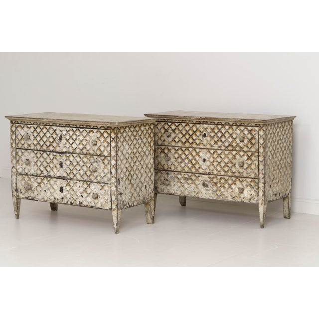 Late 20th Century Pair of Italian Neoclassical Style Crosshatch Painted Commodes For Sale - Image 5 of 12