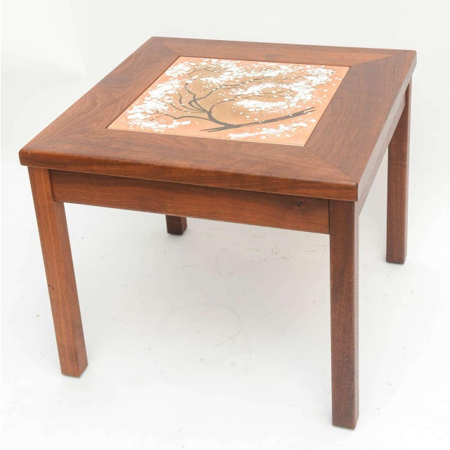 Mid-Century Modern Walnut Table With Enamel on Copper Inset by Brown Saltman For Sale - Image 9 of 10